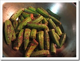 Let the okra cook