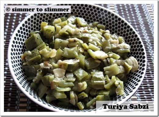 Turiya / Peerey bhaji served in a white and black bowl