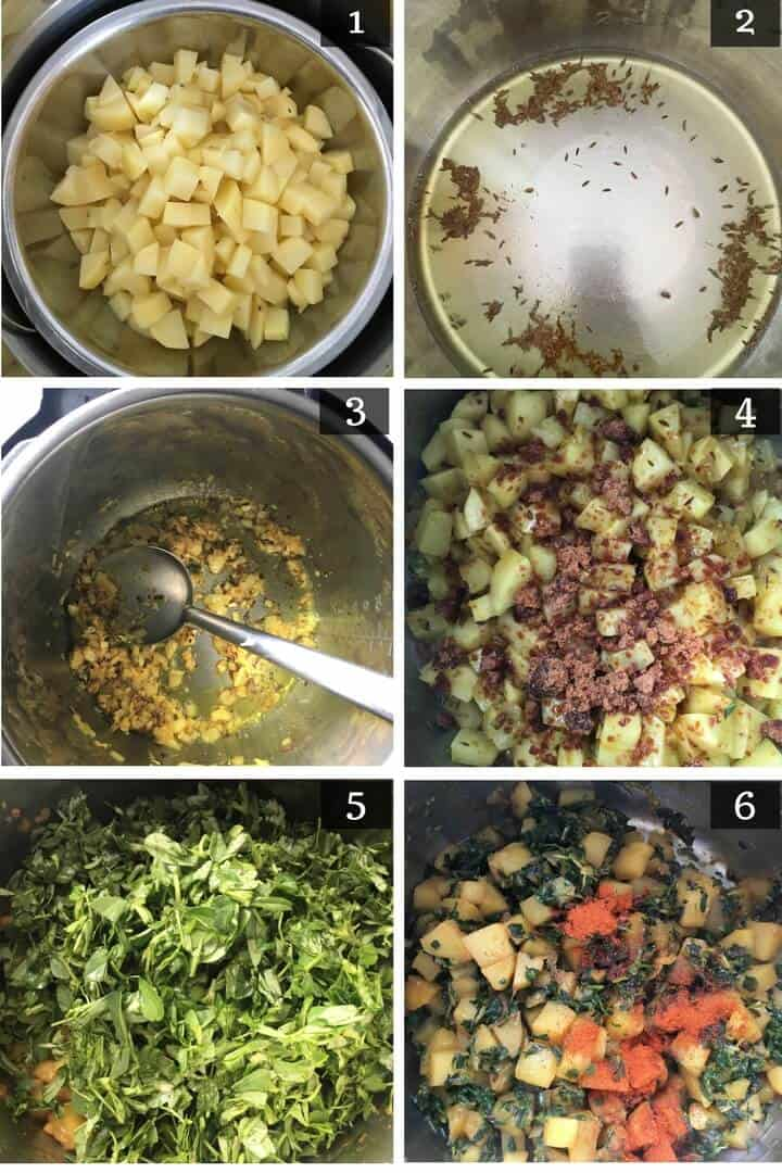 Step by step pictures to make Aloo Methi