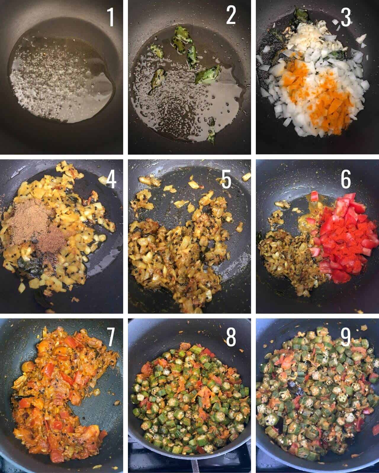 A collage of images showing how to make bhindi masala step by step