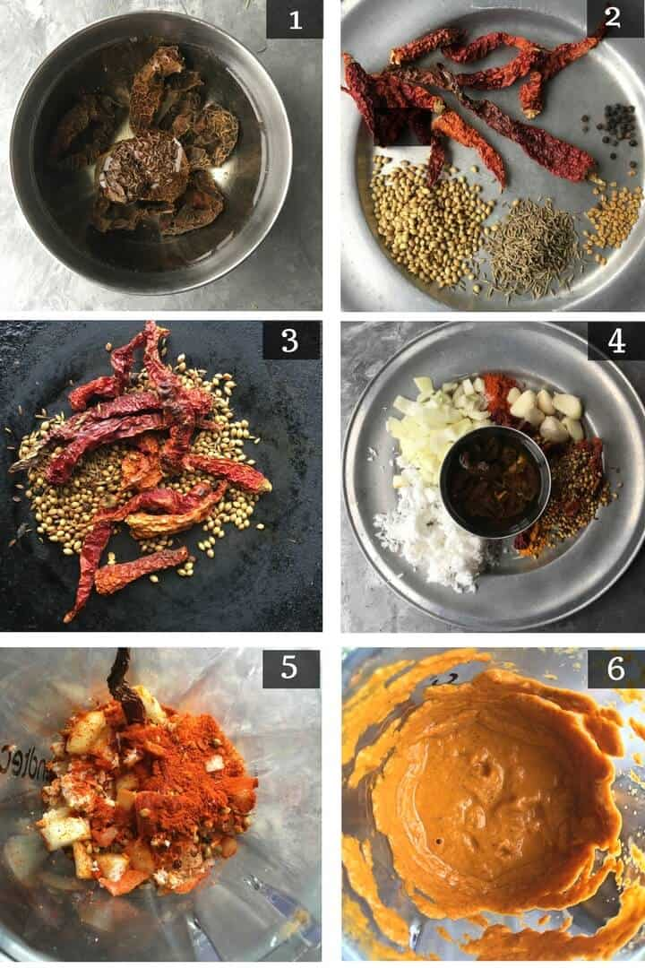 A collage of step by step pictures on how to make prawn gassi