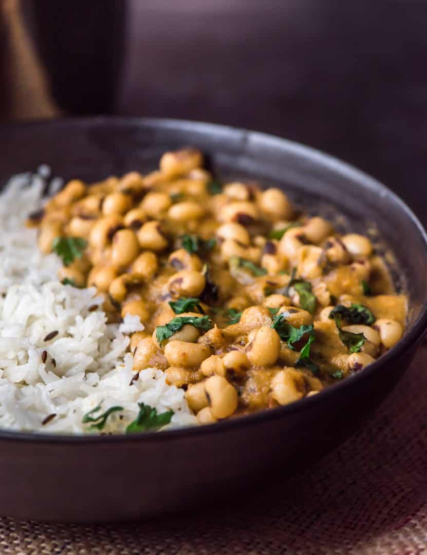 Black-eyed peas curry or lobia masala is a simple yet flavorful curry that pairs well with rice and roti. This particular legume curry might soon become you favorite Indian curry – it is healthy and satisfying.