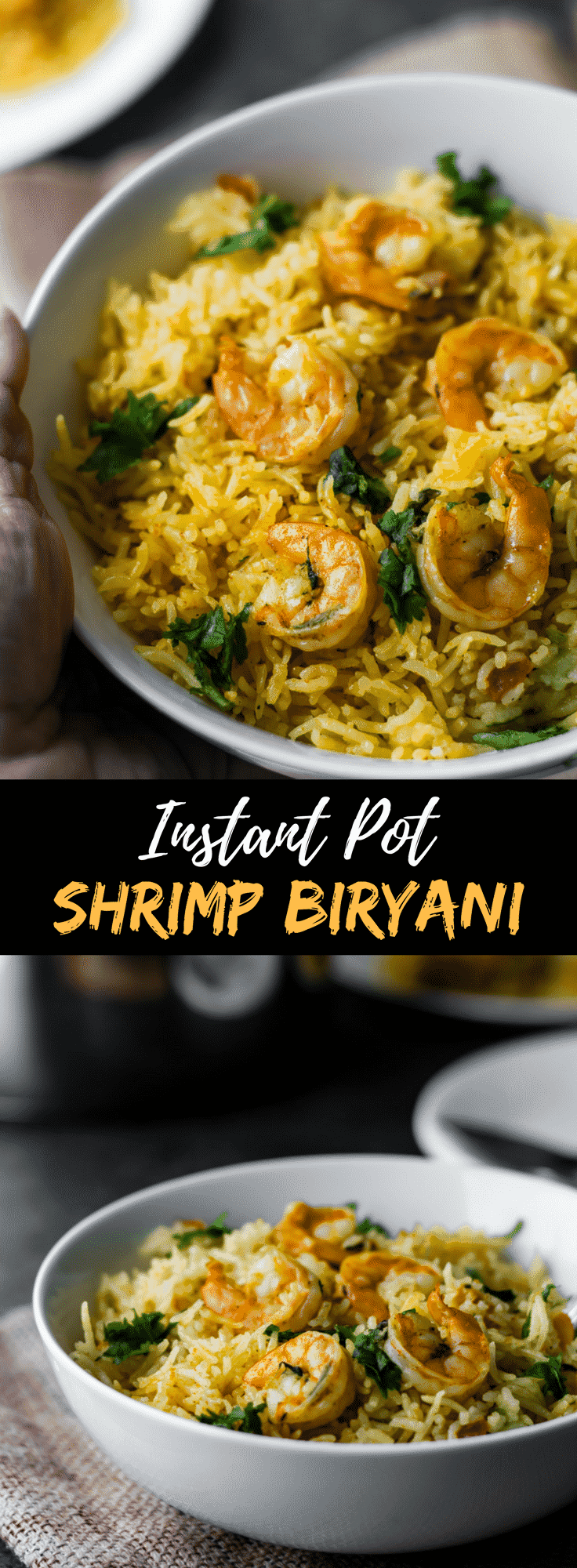Looking for a failproof and easy shrimp or prawn biryani recipe? I have one for you! This ethnic seafood recipe will yield the most flavorful biryani without a lot of hard work. Make this prawns biryani either in the Instant Pot or stovetop - it will give you spectacular results either ways. Indian seafood at it best!