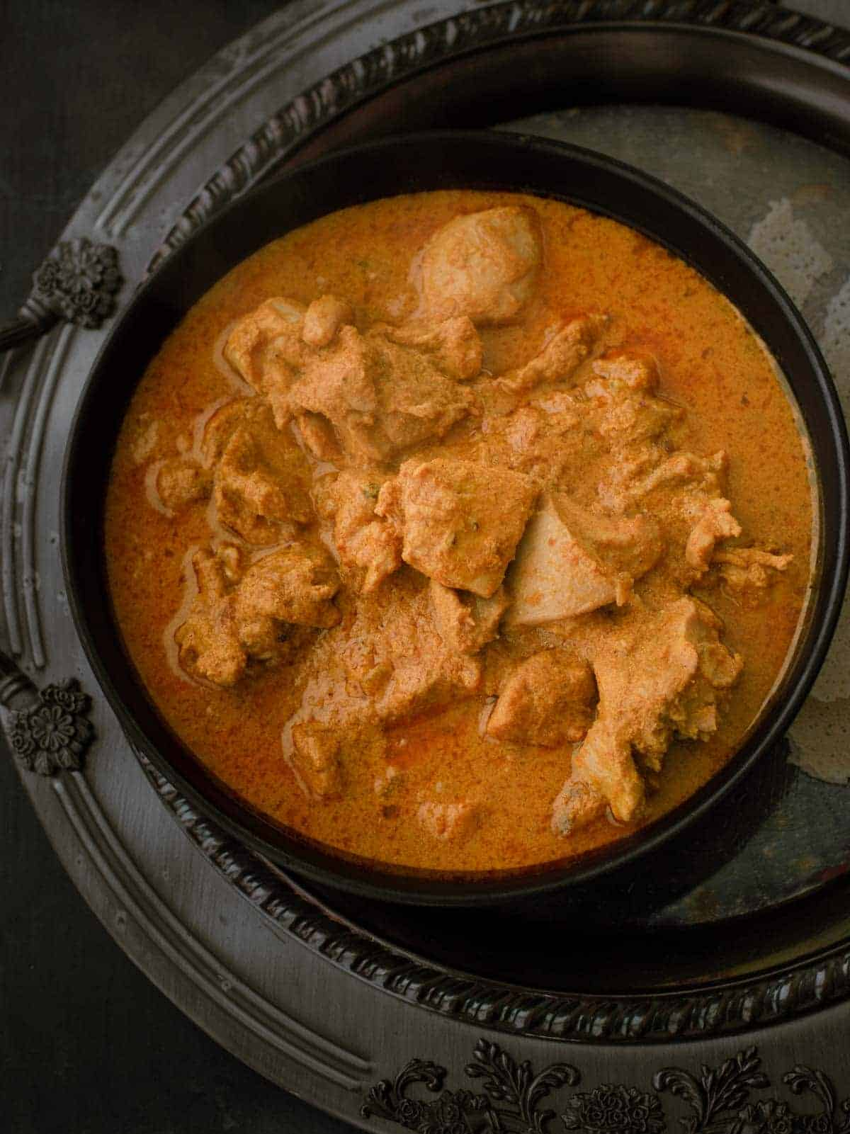 Mangalorean chicken curry or Kori Gassi is a chicken curry like no other. Signature dish of the folks hailing from bunt community, this fiery red chicken curry combines the mild sweetness of coconut with a medley of spices to create a complex flavored curry that is a treat to your senses.