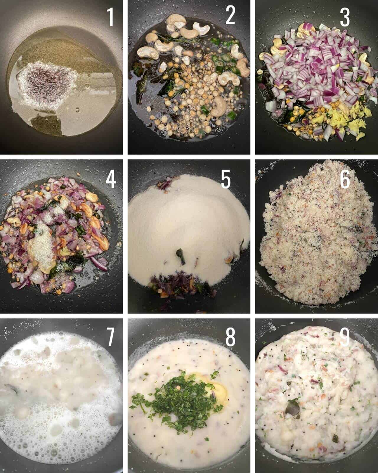 A collage of images showing how to make upma step by step