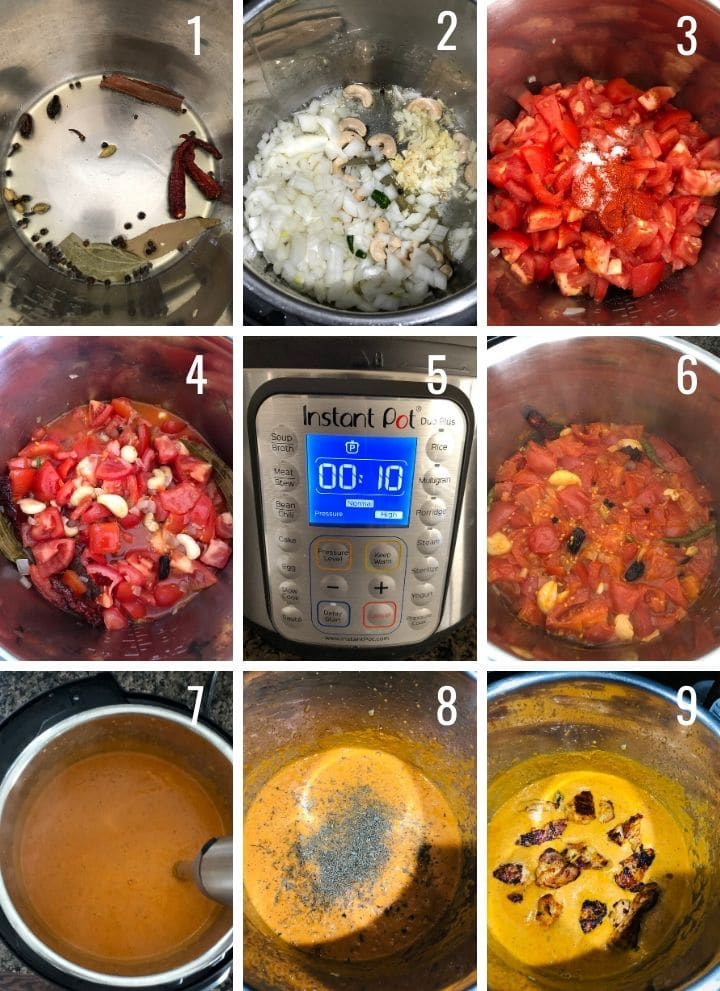 A collage of images showing how to make chicken tikka masala step by step