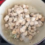 Frozen suran added to pan