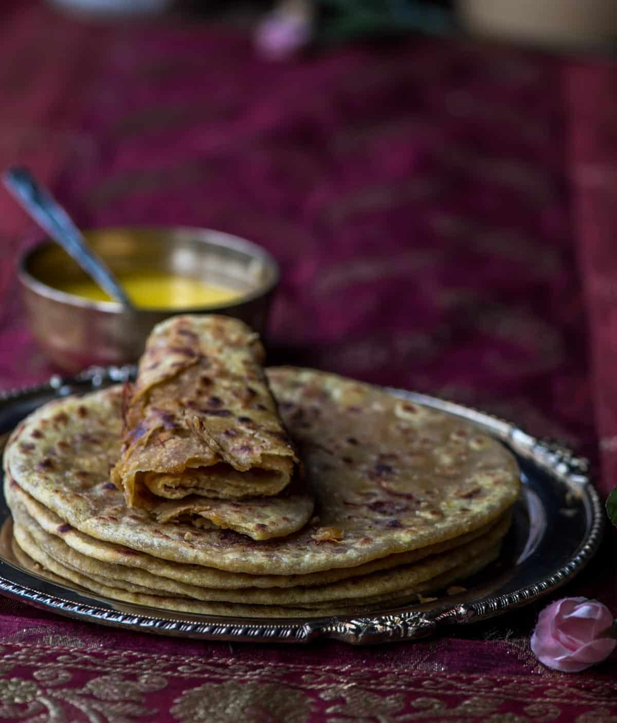 Eat Whole wheat puran poli guilt free! Though not as flaky as the one made with maida (all purpose flour), it is still as delicious.