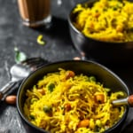 Lemon Semiya upma served in black bowl