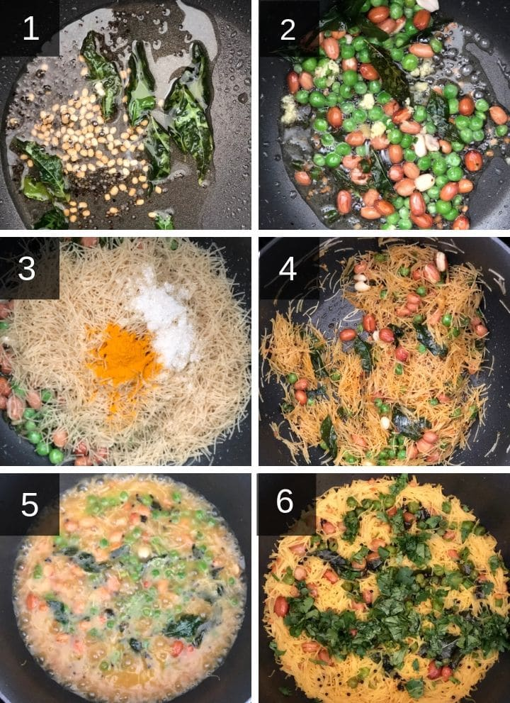 A collage of step by step pictures to make Semiya Upma
