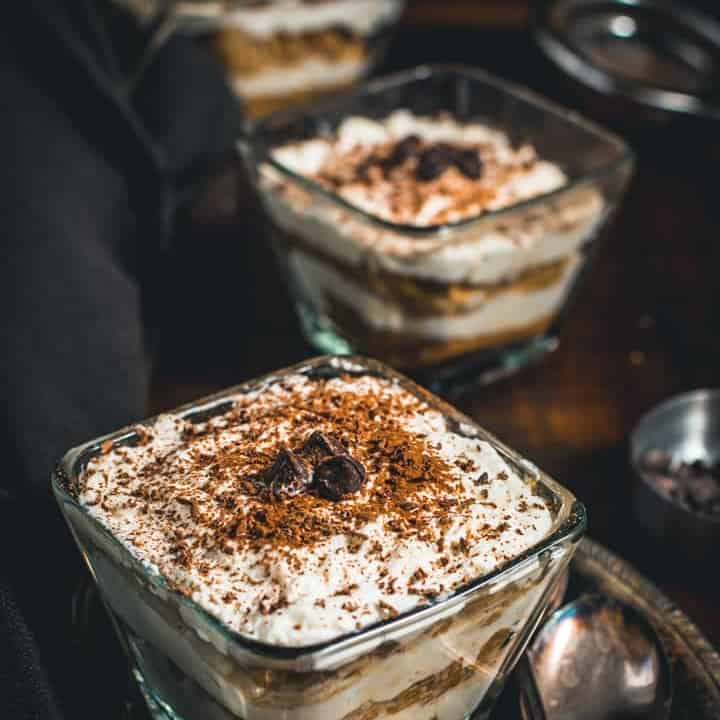 Tiramisu served in glass bowls