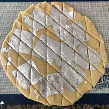 Cashew burfi cut into diamond shape