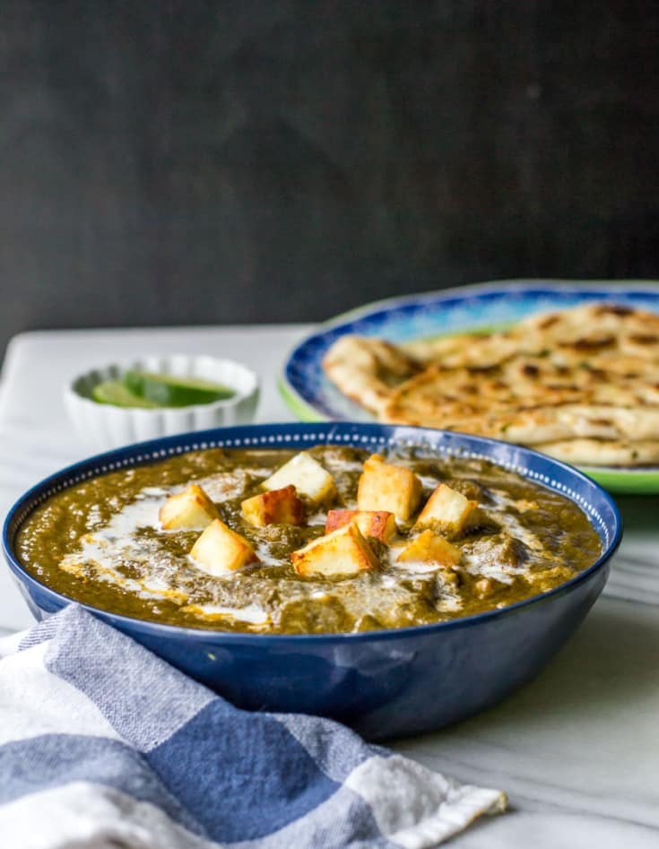 Restaurant style Palak Paneer (spinach and cottage cheese)