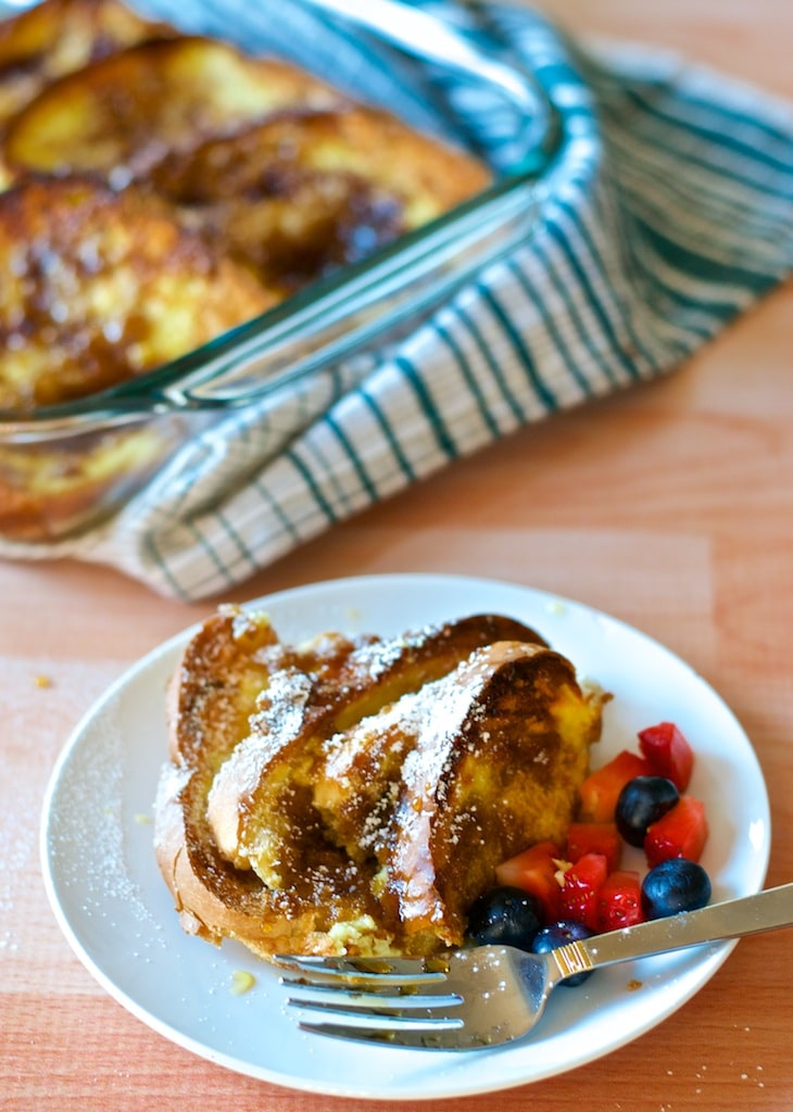 Prep for this Baked French Toast right before bed and enjoy a weekend style breakfast on any weekday morning.