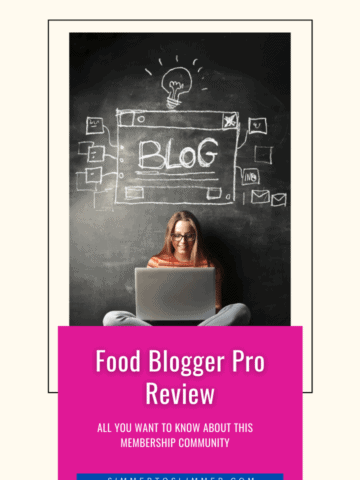 A lady sitting with a laptop with Blog written over her head on a chalkboard. The caption reads Food Blogger Pro Review
