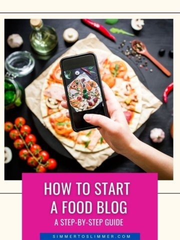 A lady holding an iPhone and taking pictures of food. The caption reads how to start a food blog - a step by step guide