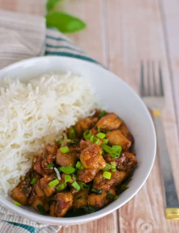 Basil chicken is a classic Thai take out food that is both quick and easy to make and will satisfy your cravings for Thai food in a pinch.