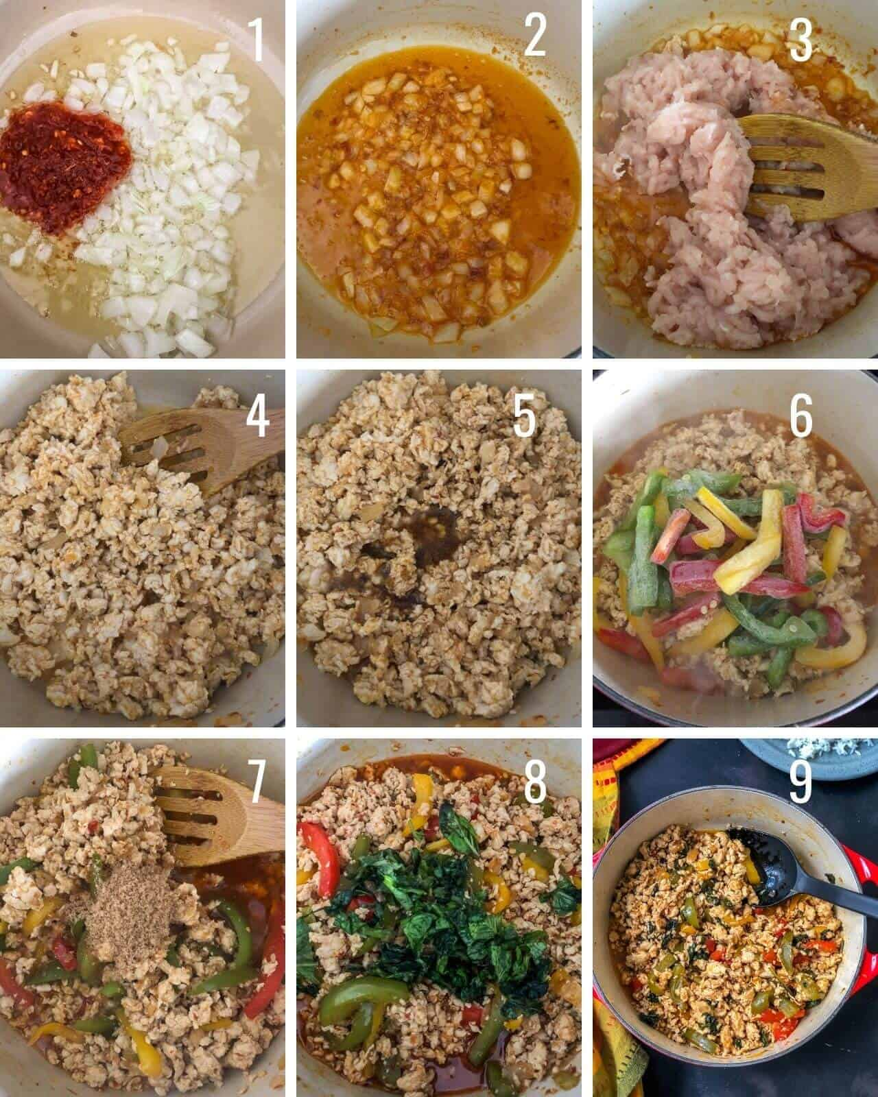 A 9 grid of the different steps to make thai basil chicken.