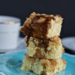 Apple coffee cake with brown sugar glaze