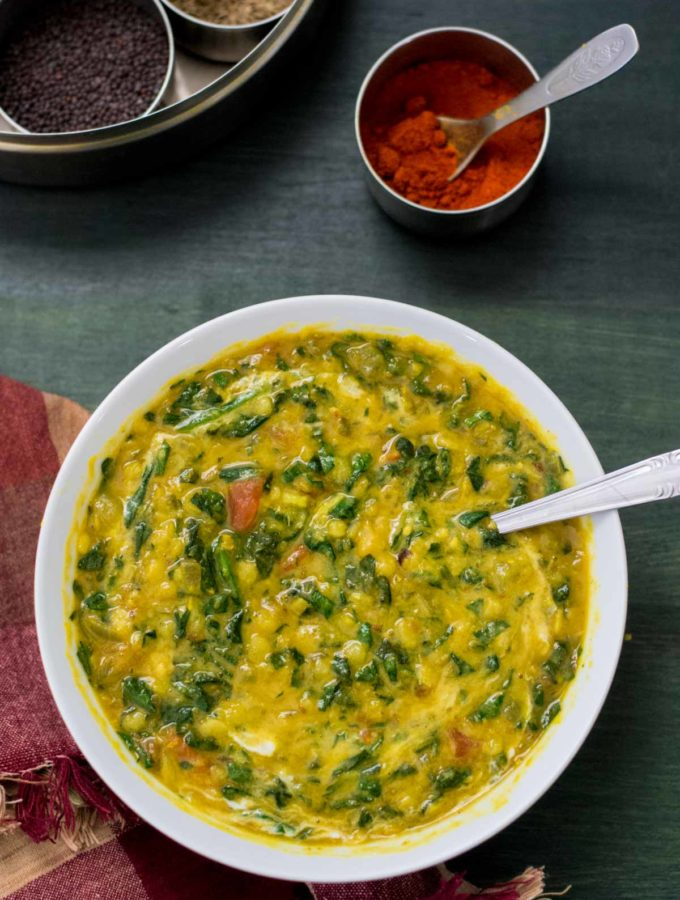 Spinach and Tomato Dal (Dal Palak)