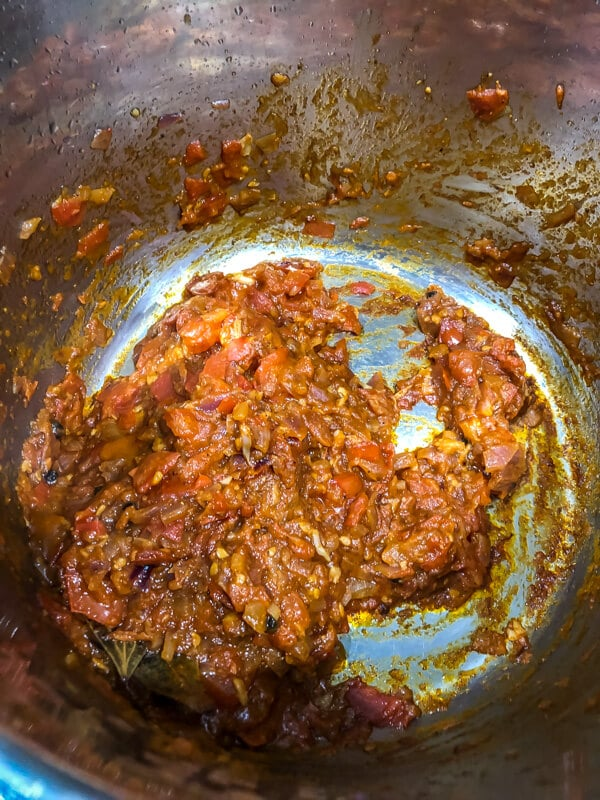 onions and tomato gravy cooked through till it is soft and mushy