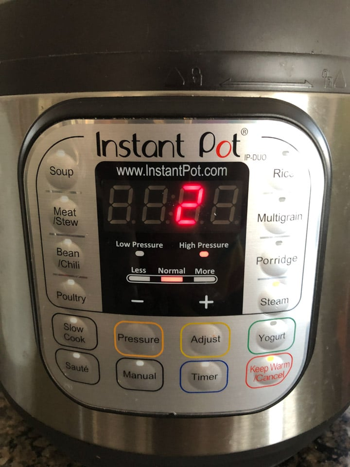Instant Pot Steam Function set to two minutes
