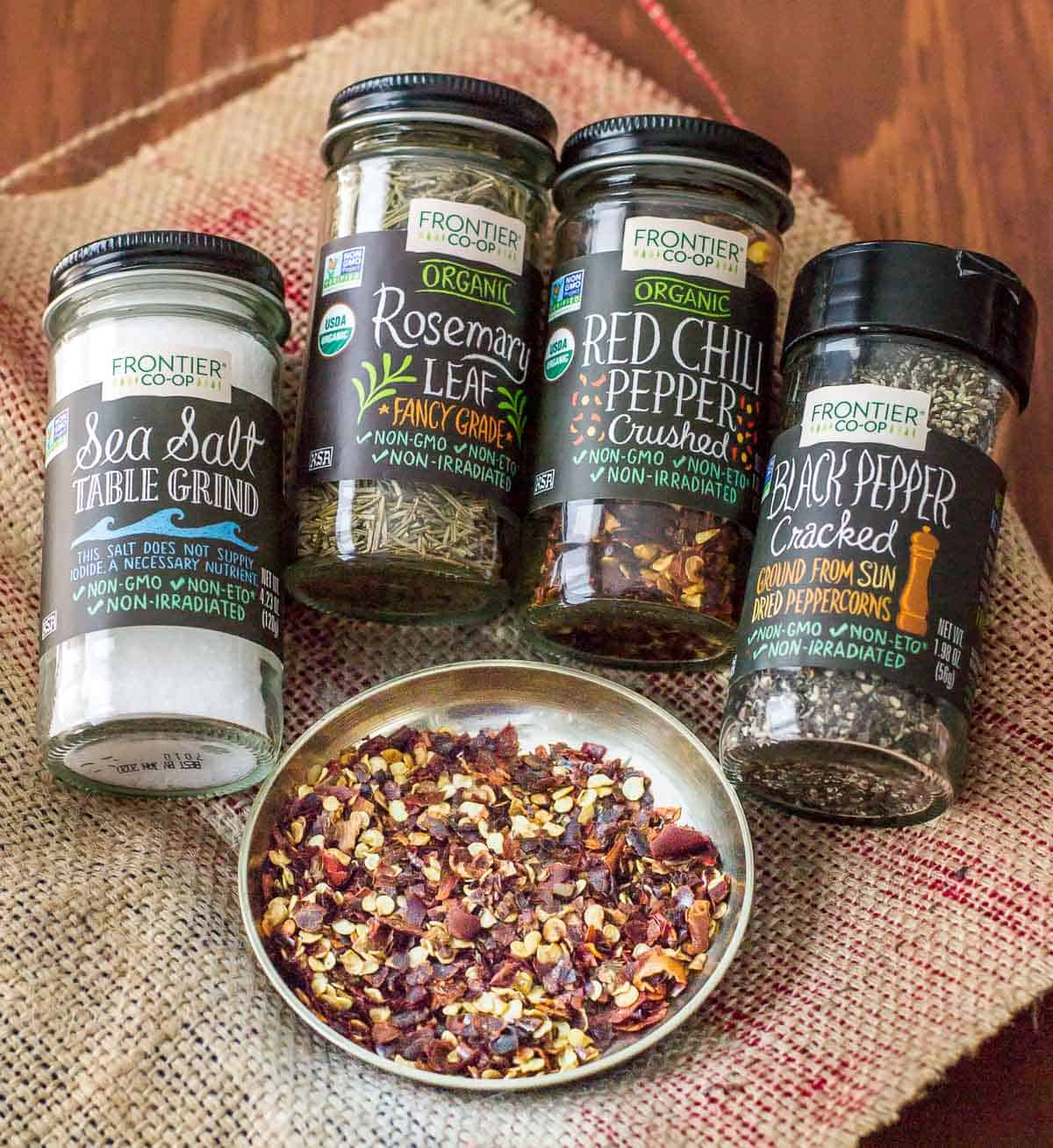 Frontier Spice package consisting of Sea salt, Rosemary leaf, Red Chili pepper, Black pepper cracked