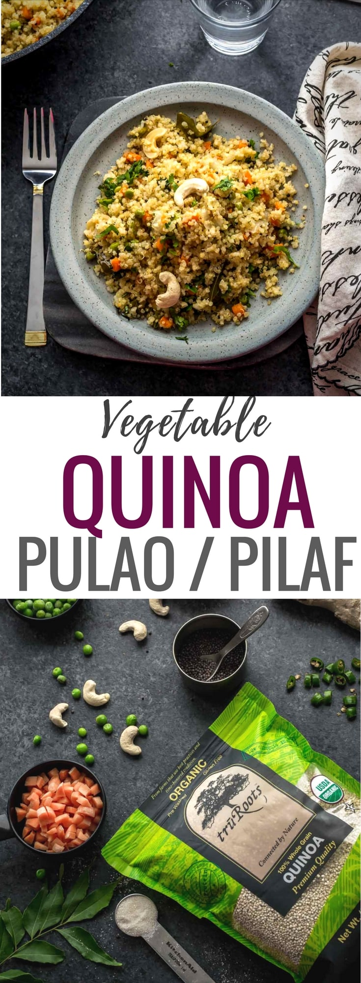Quinoa pulao recipe with vegetables - Have you tried Vegetable Quinoa Pulao? Just like vegetable pulao, it is delicious and is a great way to work more veggies into your meals with quinoa – a healthier substitute for rice. This post is sponsored by truRoots. #ad #quinoa #pulao #Indiancuisine #healthyindianrecipes #indianvegetarianrecipes #ethniccuisine #worldcuisine #indianfood