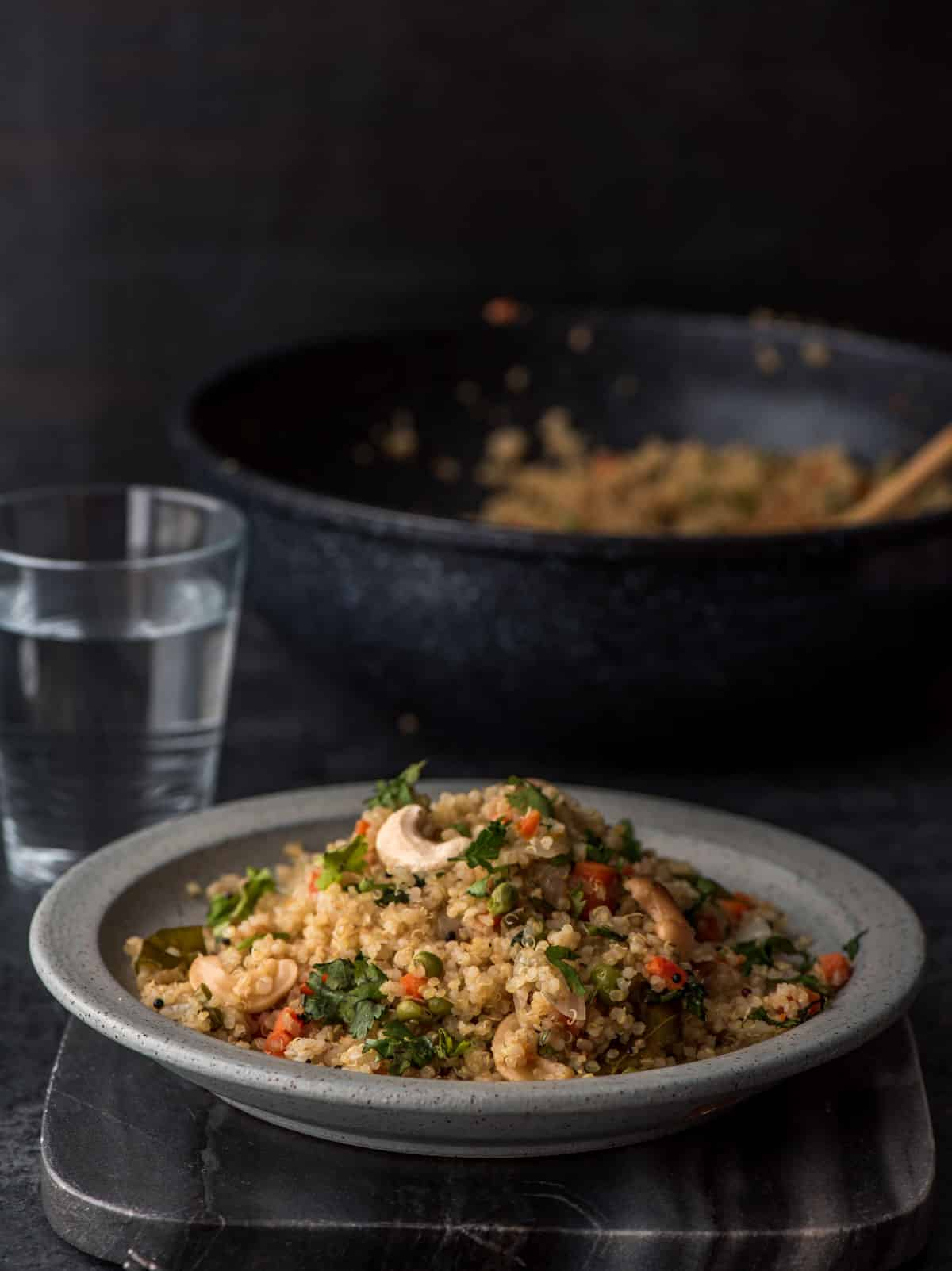 You'll love this delicious vegetable quinoa pulao - it is a great way to work more veggies in your meal and also you can put them together in less than 30 minutes.