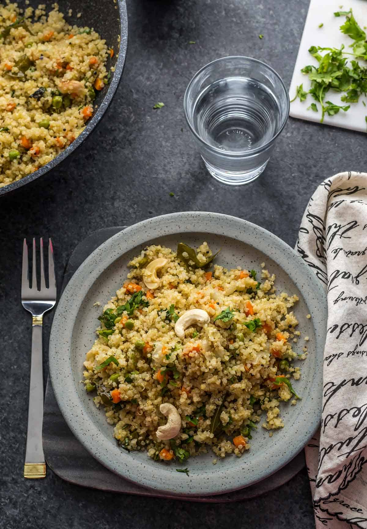Have you tried Vegetable Quinoa Pulao? Just like vegetable pulao it is delicious and is a great way to work more veggies into your meals.