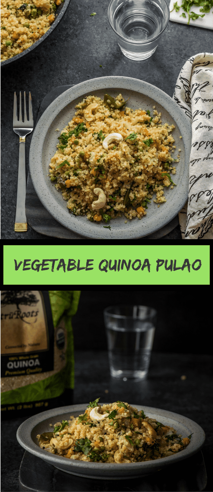 Have you tried Vegetable Quinoa Pulao? Just like vegetable pulao, it is delicious and is a great way to work more veggies into your meals with quinoa – a healthier substitute for rice. This post is sponsored by truRoots.