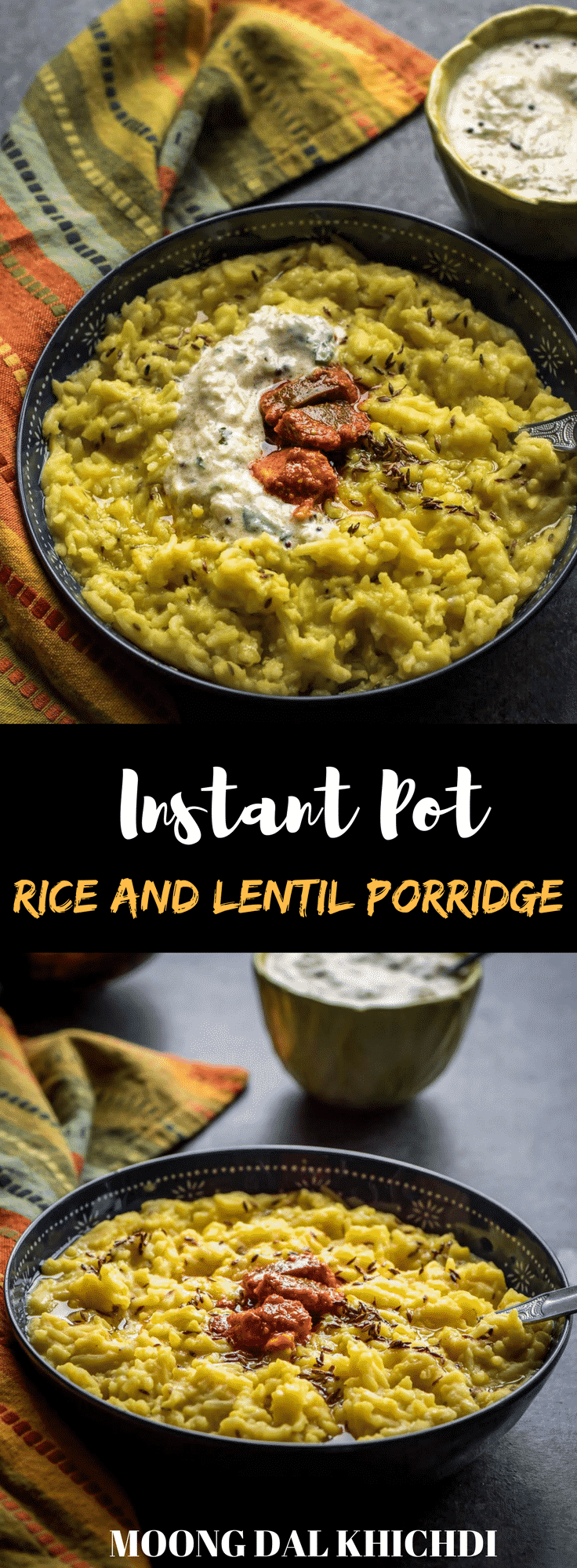 A wholesome and nutritious meal -this one-pot, 5-ingredient Moong dal khichdi (rice and lentil porridge) made from rice and split lentils is comfort food at its best and 30 minutes is all it takes. A perfect recipe for you to make in your Instant Pot.