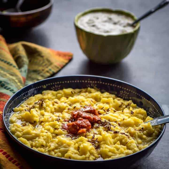 A wholesome and nutritious meal -  Moong dal khichdi made from rice and split lentils is comfort food at its best. This one-pot, 5-ingredient meal is easy on your stomach and is perfect for all ages.