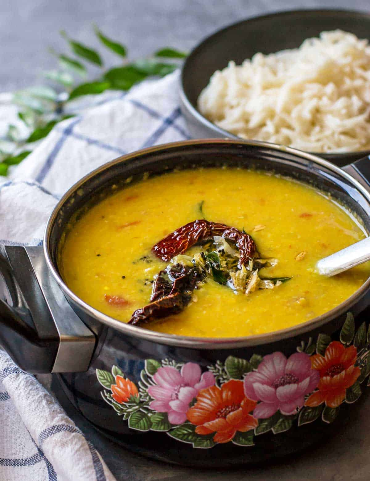 One pot recipe for Tadka dal (or lentil soup)