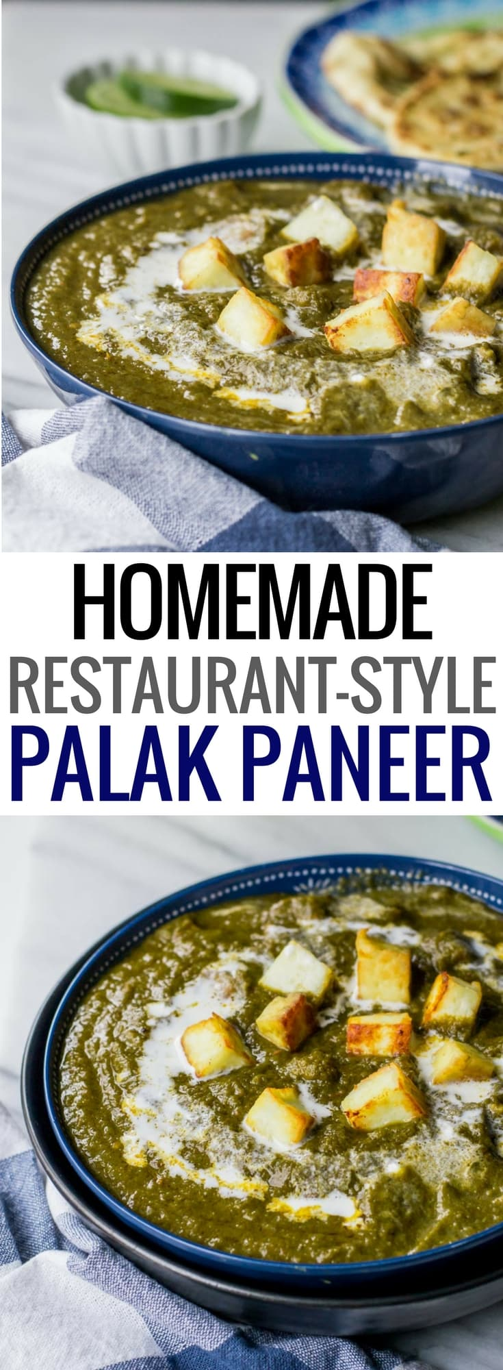 Restaurant style palak paneer recipe - This Indian vegetarian dish is popular with folks in India and abroad. Get this easy and healthy recipe to make restaurant style Palak Paneer (Spinach with cottage cheese) at home! Includes directions to make it in an Instant Pot as well. #InstantPotRecipe  #Indiancuisine #healthyindianrecipes #indianvegetarianrecipes #ethniccuisine #worldcuisine #indianfood