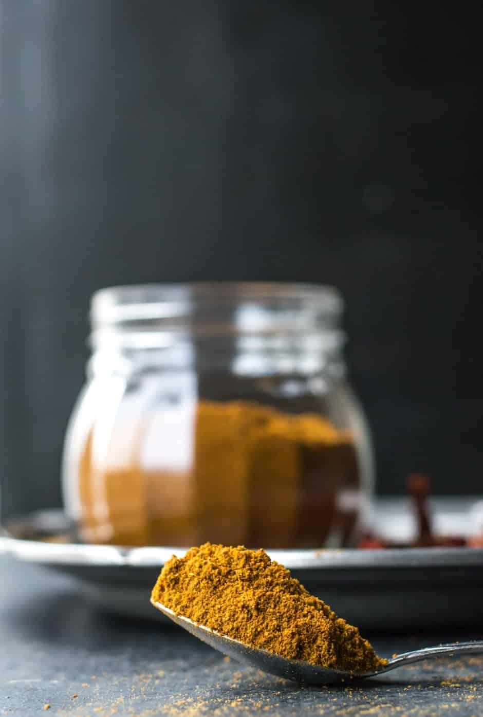 A spoon full of sambar powder