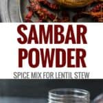 A collage of pics featuring Sambar powder in a glass jar