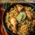 Chettinad chicken biryani served in a black bowl