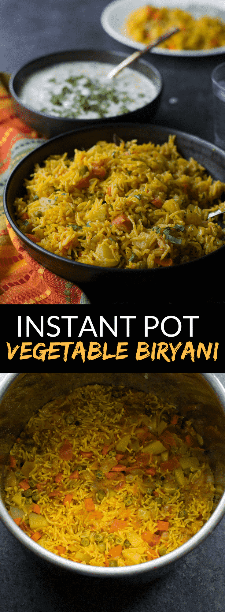 Instant Pot Vegetable biryani is a healthy, one-pot Indian vegetarian rice dish that comes together in 30 minutes. Make this recipe in your Instant Pot today!  #InstantPotRecipe #Indianfood #Indiancuisine #ricedishes