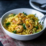 Shrimp Biryani served in a white bowl