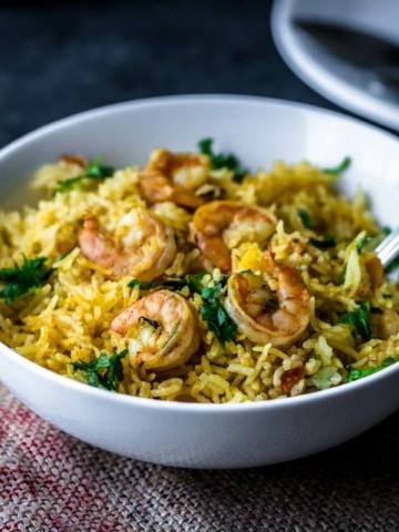 Shrimp Biryani served in a white bowl