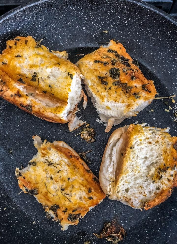 Fried Pav slices