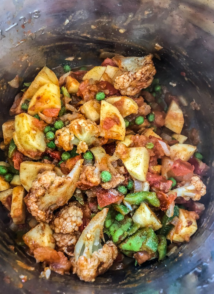 Chopped veggies mixed with spice powders