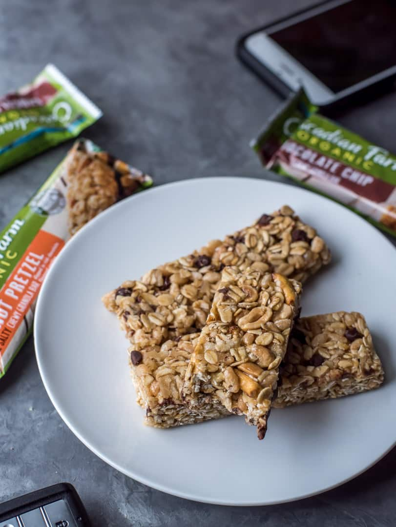 Easy snack ideas - Cascadian Farms Organic Granola bars served in a white plate