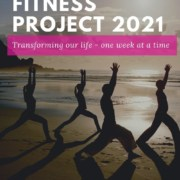 An image with folks doing yoga with caption that reads Rujuta Diwekar's Fitness Project 2021 - transforming our life one week at a time