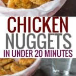 A collage of 2 pictures - one with chicken nuggets served in a red plastic bowl lined with parchment paper and the other set of chicken nuggets is served in a white plate