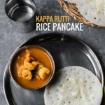 Rice pancake served with shrimp curry