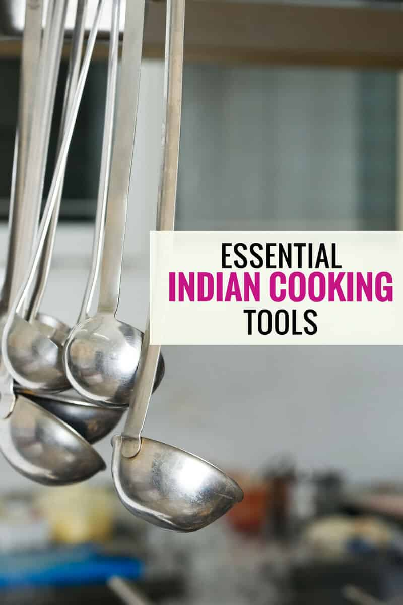 A bunch of ladles and a caption that reads Indian cooking tools