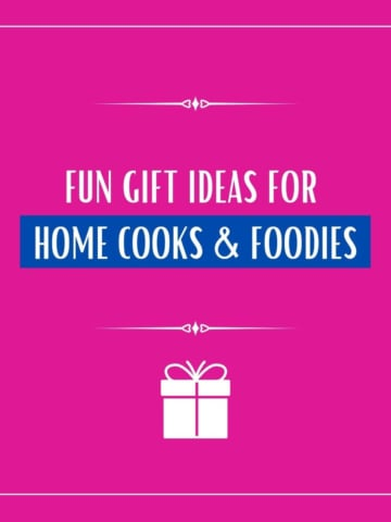 Pink background with caption that reads 10+ gift ideas for the cooks in your life