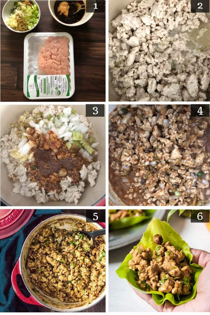 Chicken lettuce wraps - step by step